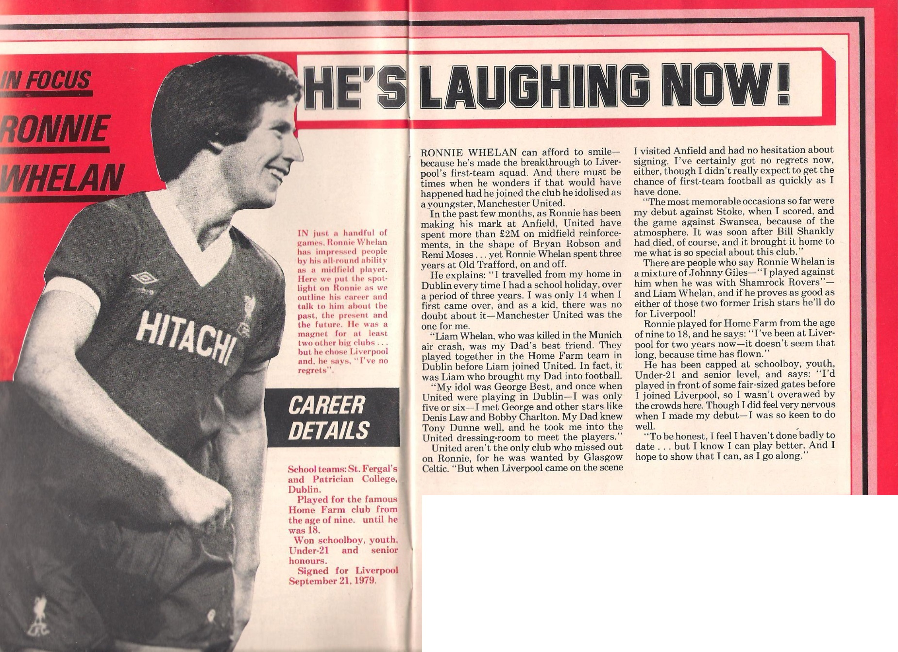 He's laughing now! - A rising star in focus in the match programme in 1981