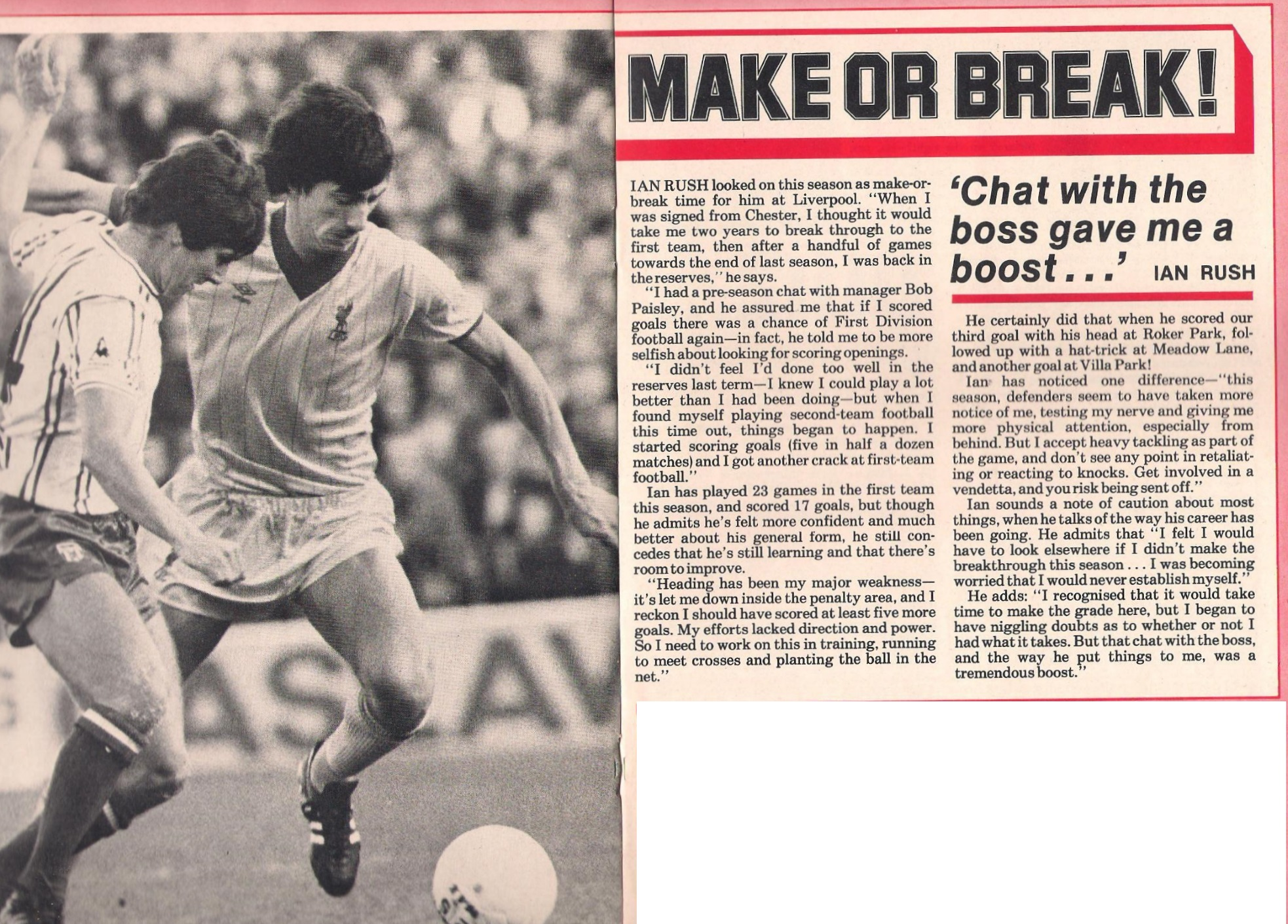 A make or break season for Rush - LFC match programme in 1982