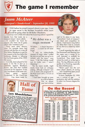 McAteer remembers his full debut in the match programme
