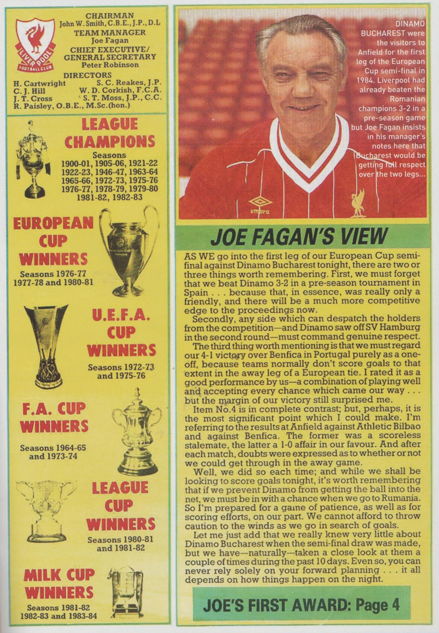 Fagan previews Dinamo Bucharest - 25 September 1984