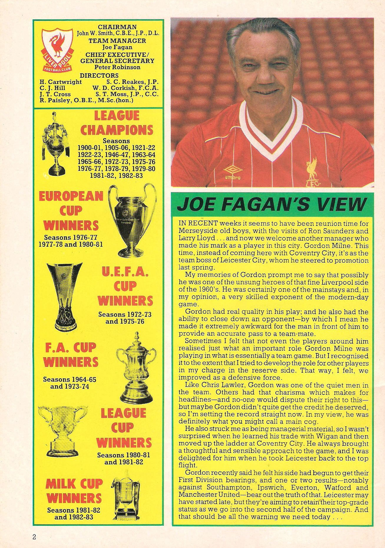Joe Fagan on Gordon Milne in 1983