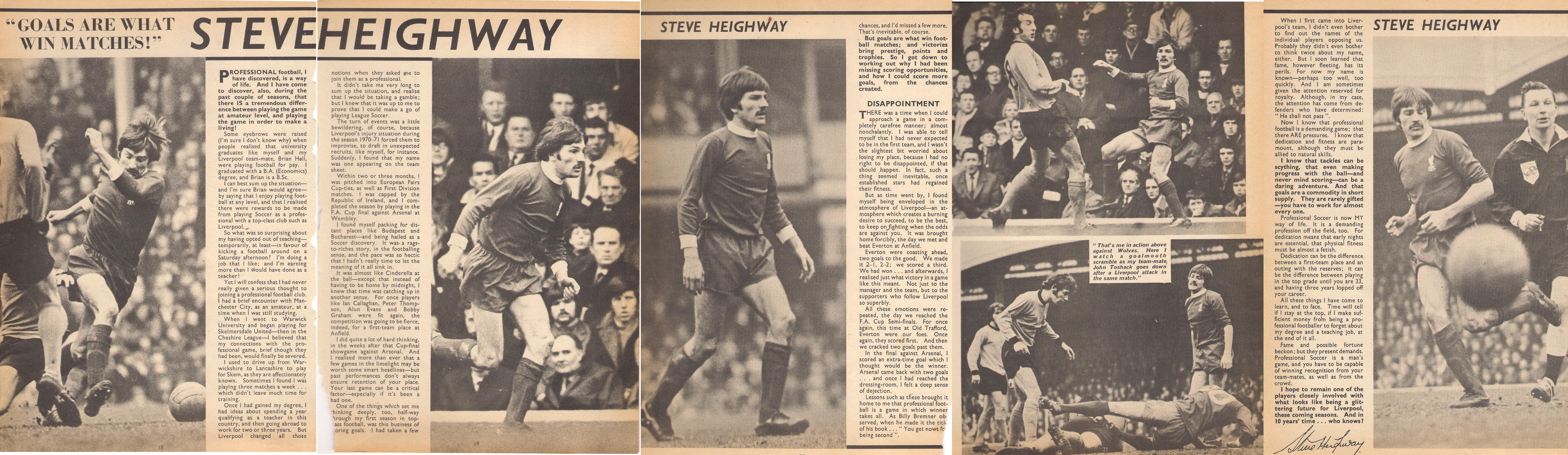 Heighway's career in the Roy of the Rovers annual 1973