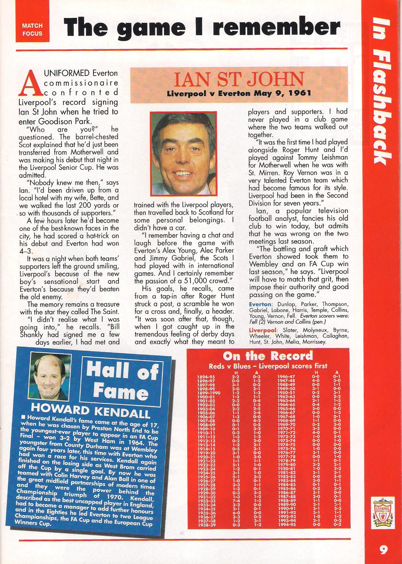 St John on his memorable Merseyside debut hat-trick in 1961