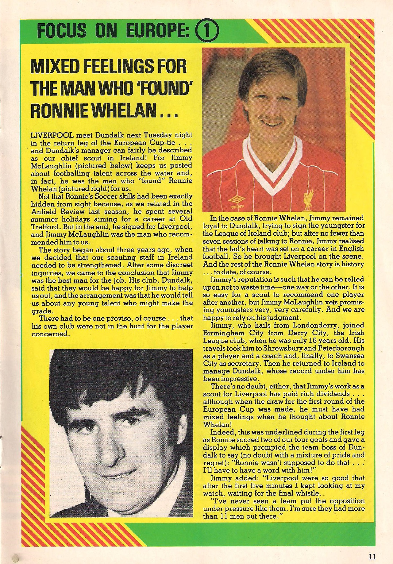 Mixed feelings for the scout who found Ronnie Whelan - LFC match programme 1982