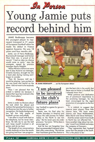 The youngest player in Europe for LFC - October 1991