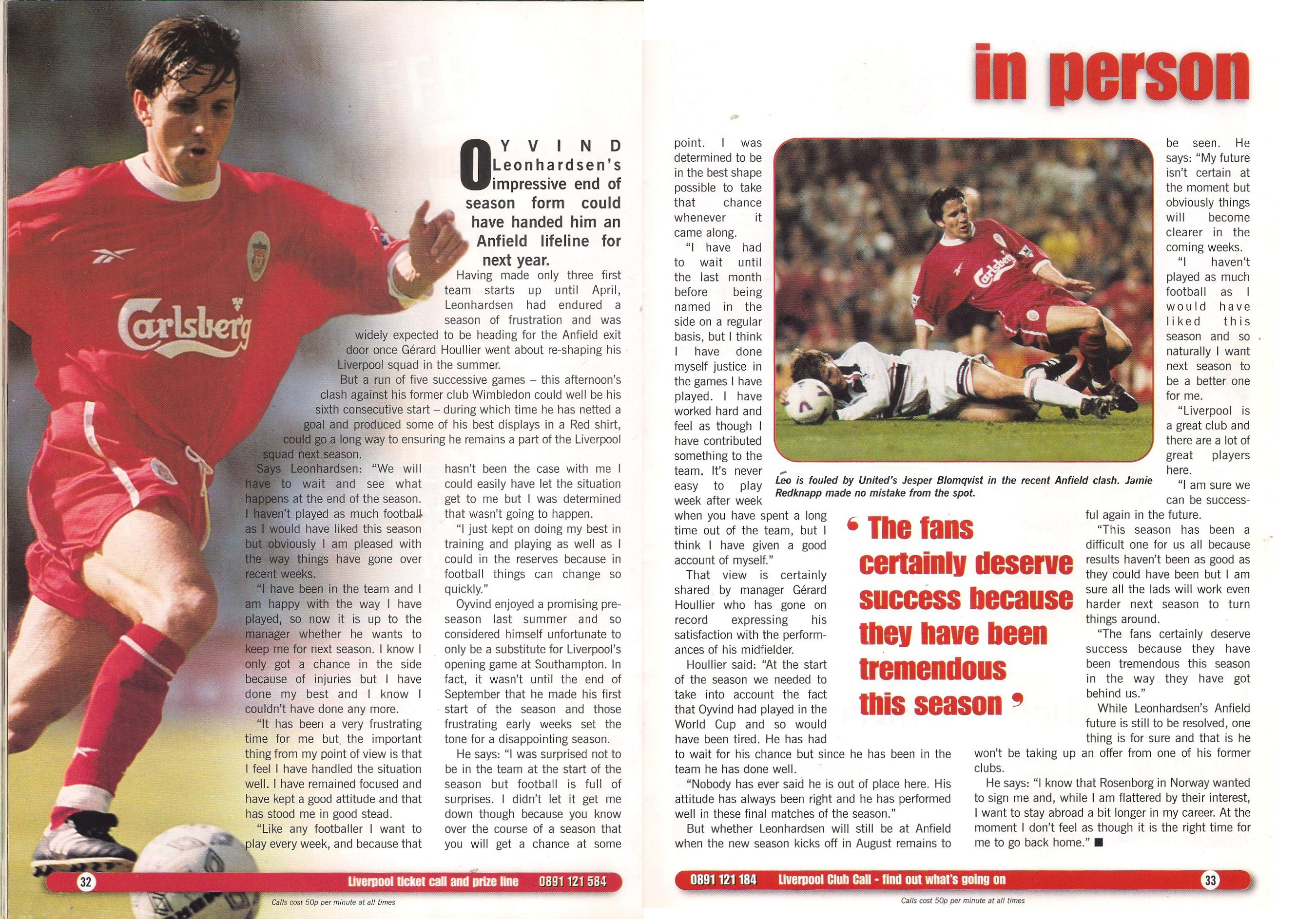 In Person - Match programme May 1999