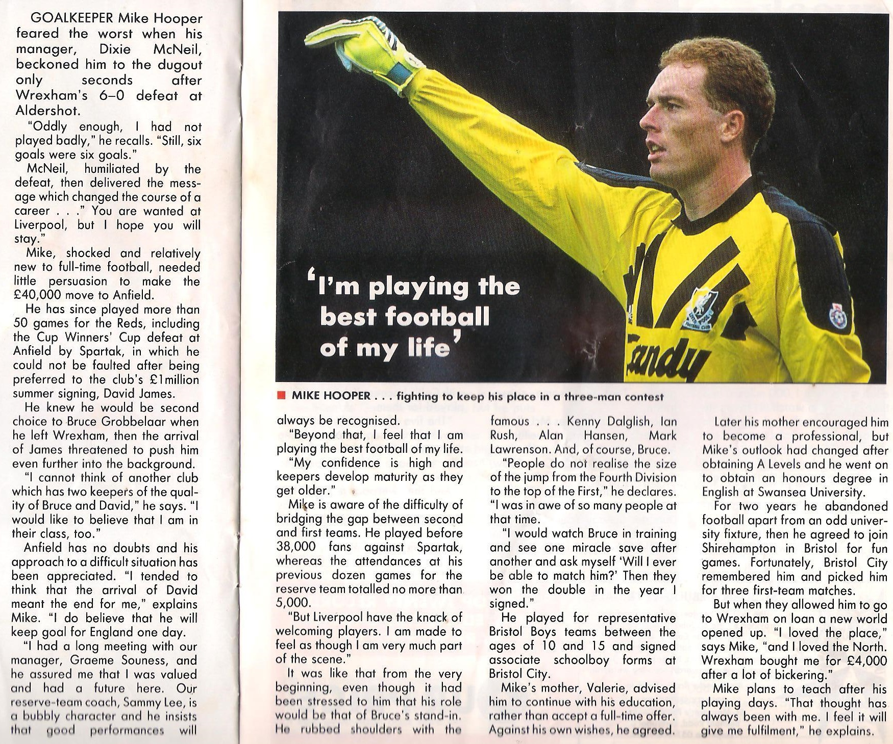 Liverpool Career Stats For Mike Hooper