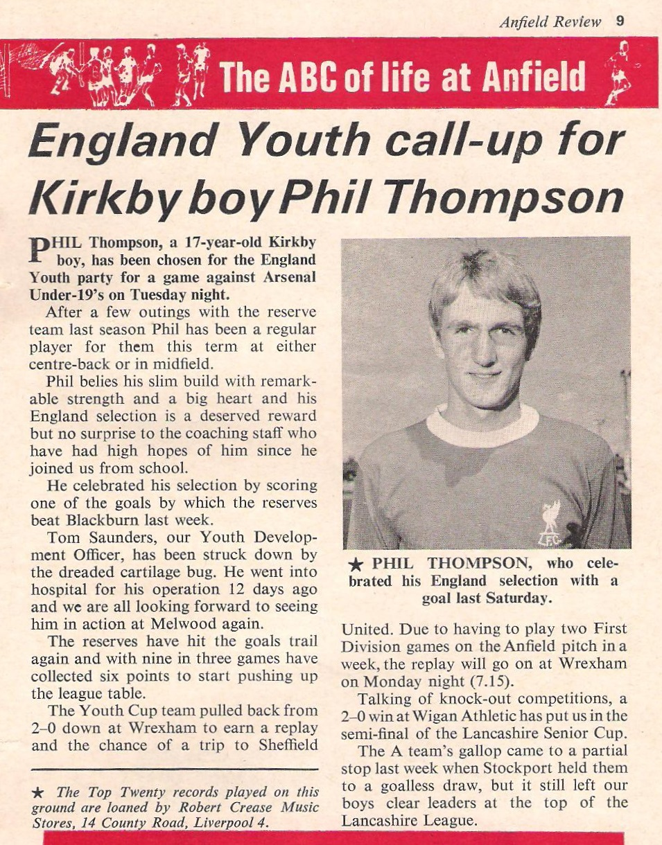 England youth call-up for Kirkby lad - Liverpool match programme 1971
