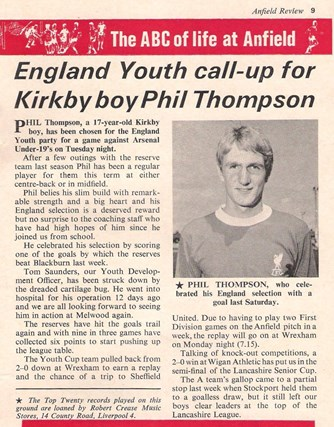Phil Thompson in Star Choice from the Liverpool match programme