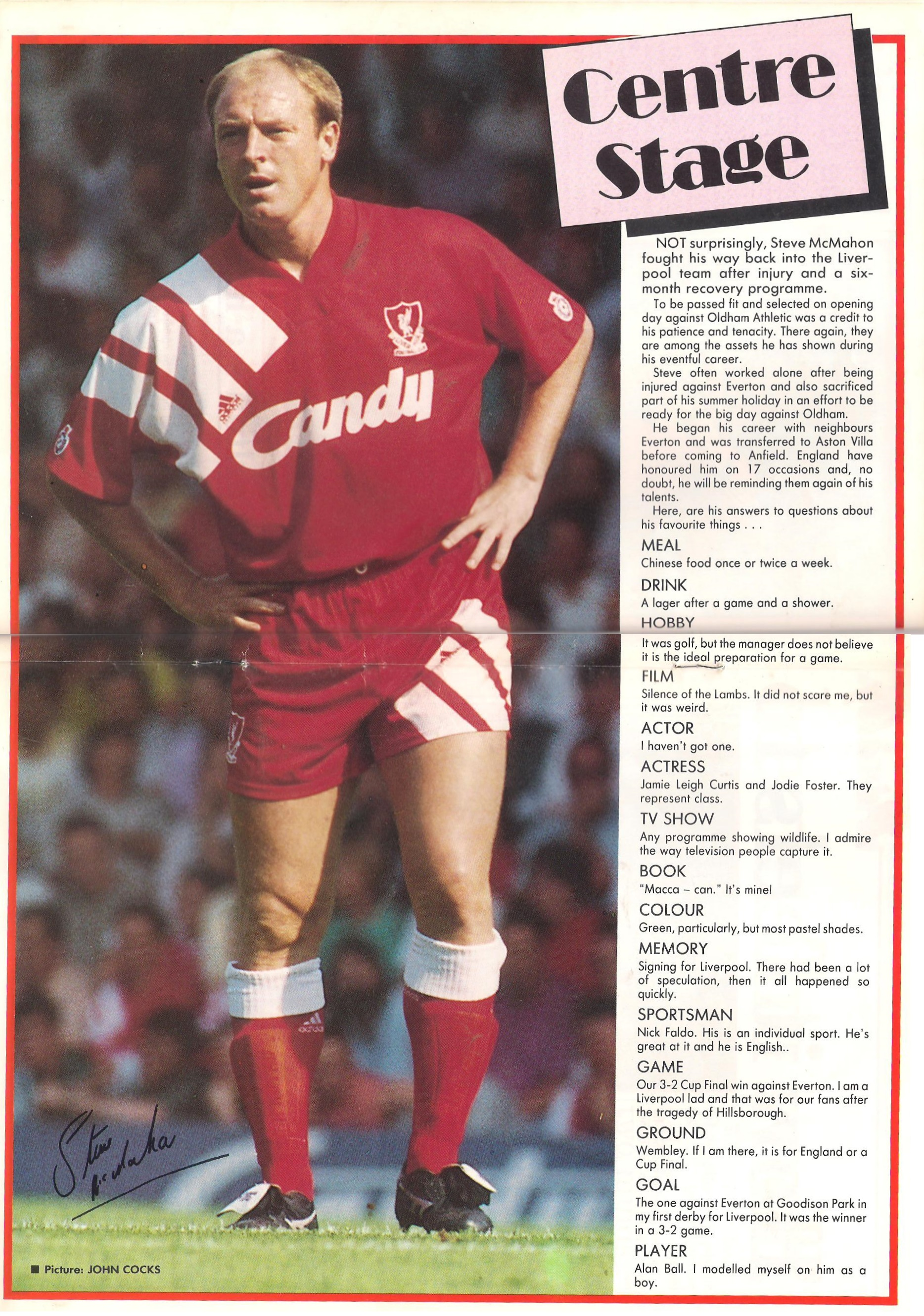 Centre stage - LFC match programme 1991