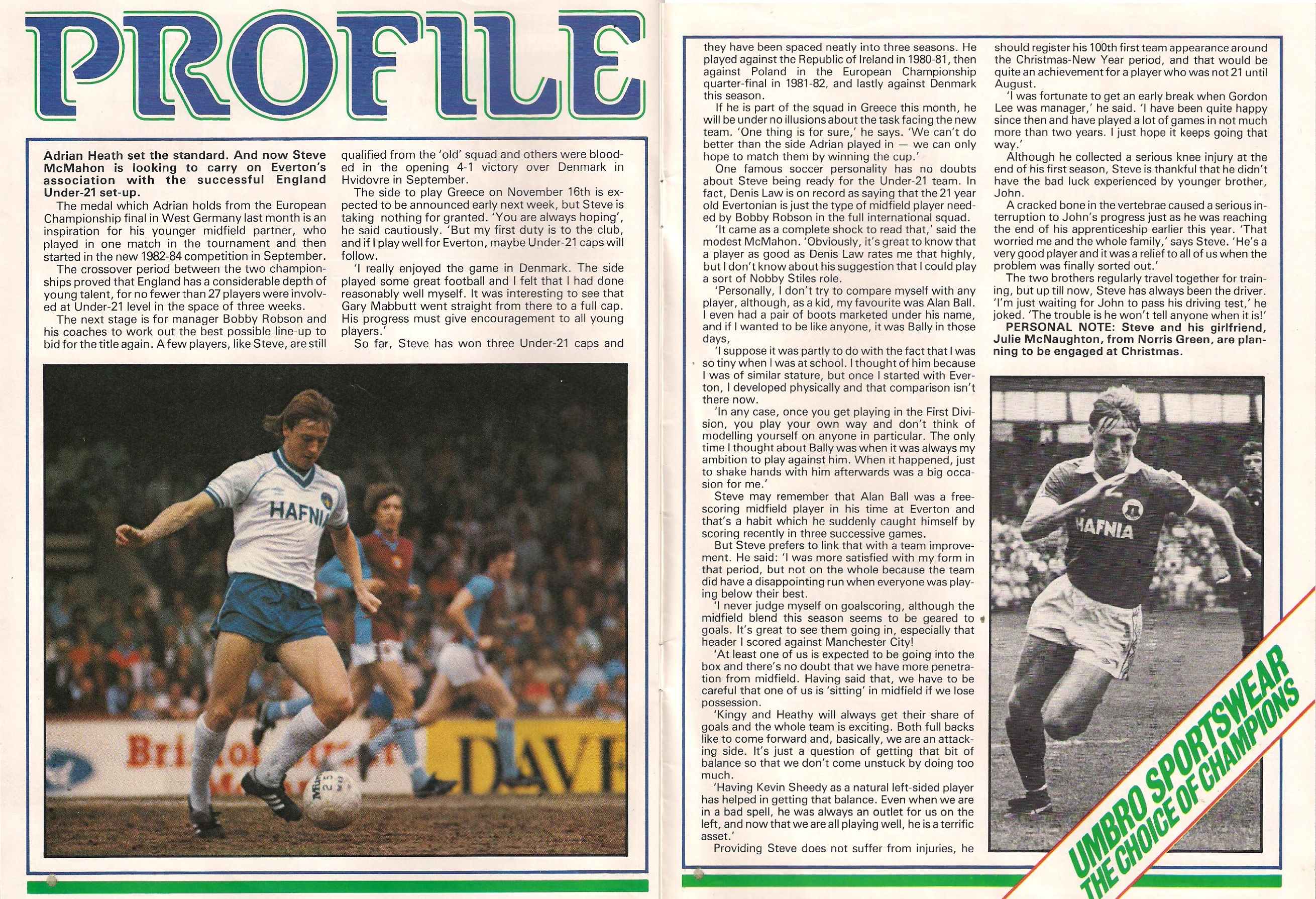 Everton's Steve McMahon in profile 1982