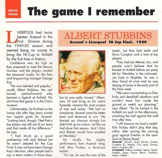 Stubbins remembers the 1950 final in the Liverpool match programme