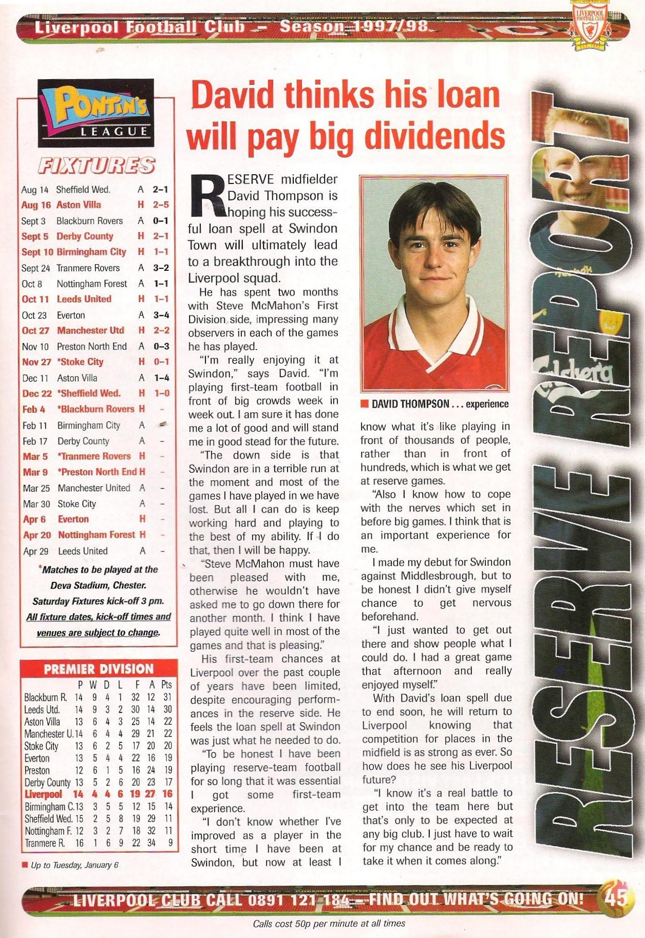 David thinks his Swindon loan will pay big dividends - 1997/98