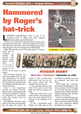 Hammered by Roger's hat-trick - September 1965