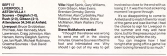 Steve McMahon's view in fan club magazine
