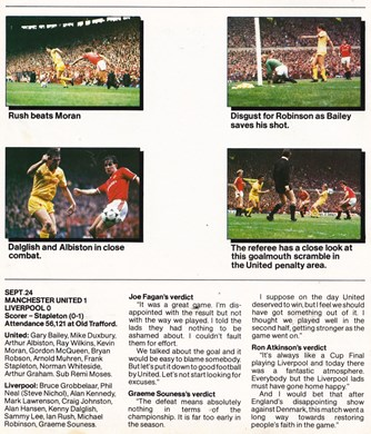 Fagan's, Souness' and Ron Atkinson's view in fan club magazine