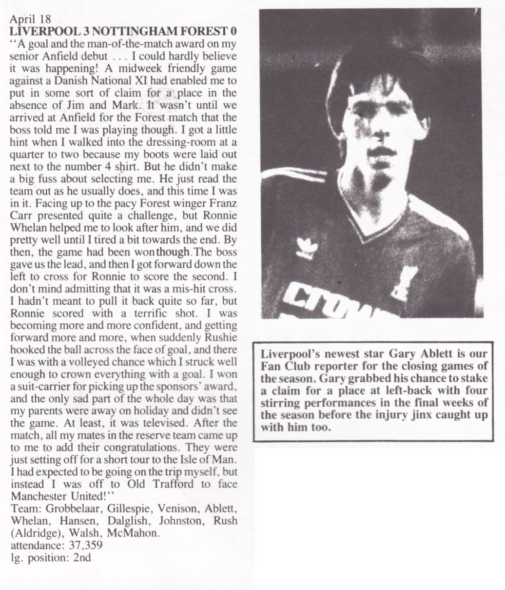 Gary Ablett's view on Liverpool - Nottingham Forest 18 April 1987