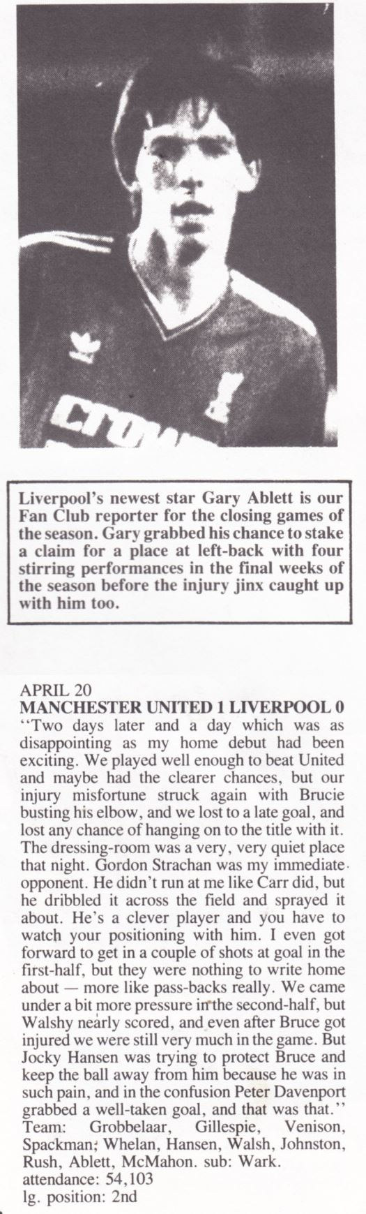 Gary Ablett's view on Manchester United - Liverpool - Nottingham Forest 20 April 1987