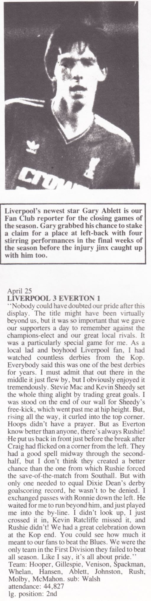 Gary Ablett's view on Liverpool - Everton 25 April 1987
