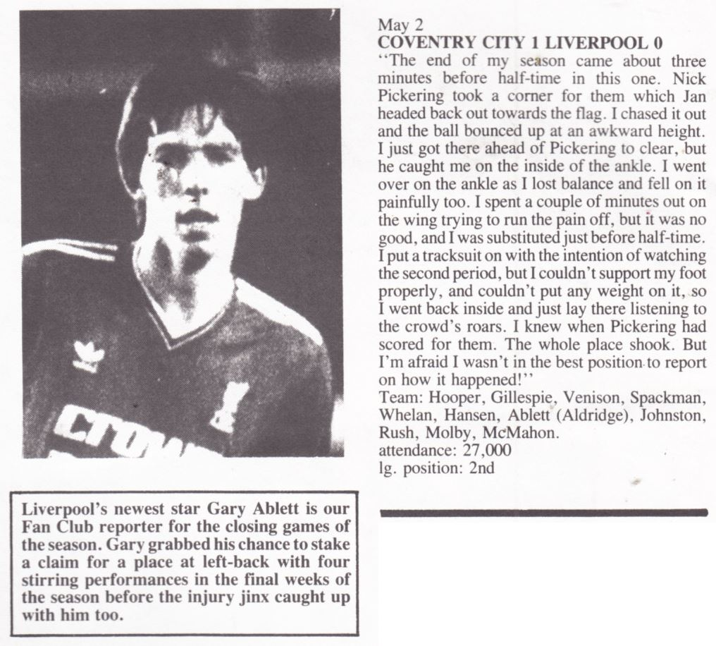 Gary Ablett's view on Coventry - Liverpool - Nottingham Forest 2 May 1987