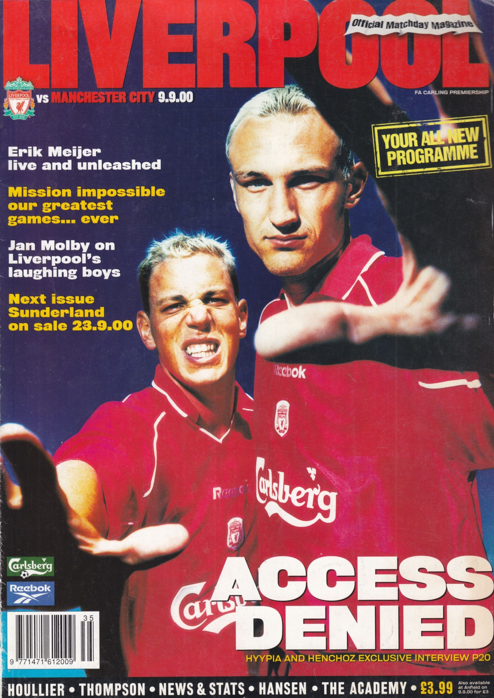 Henchoz and Sami Hyypia on the cover of the Matchday magazine 9 September 2000