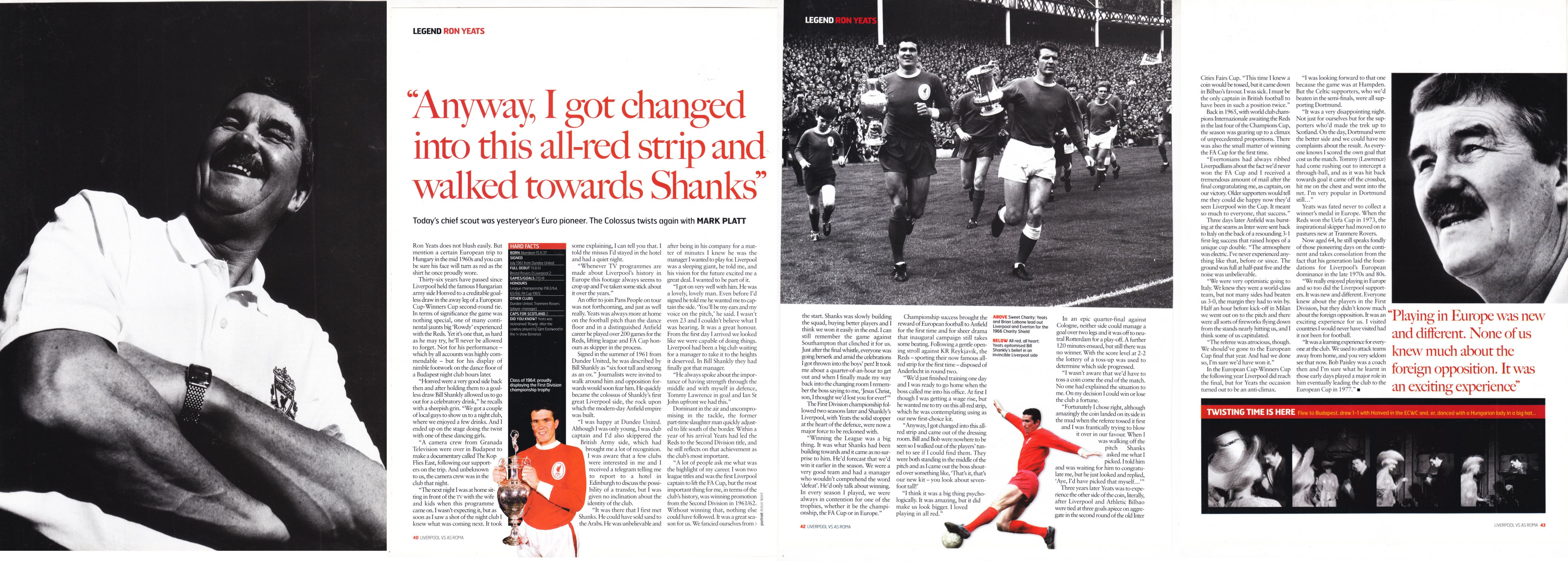Official Matchday Magazine interview 2000/01