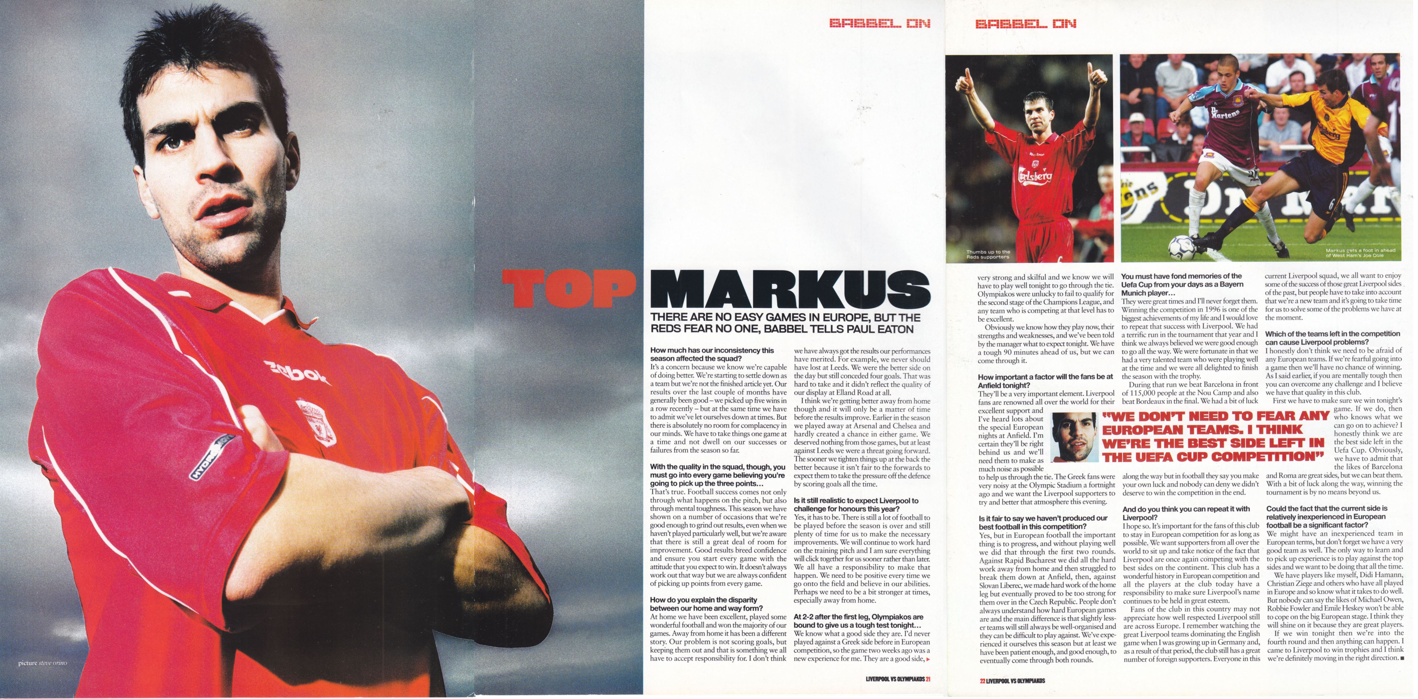LFC Official Matchday Magazine interview December 2000