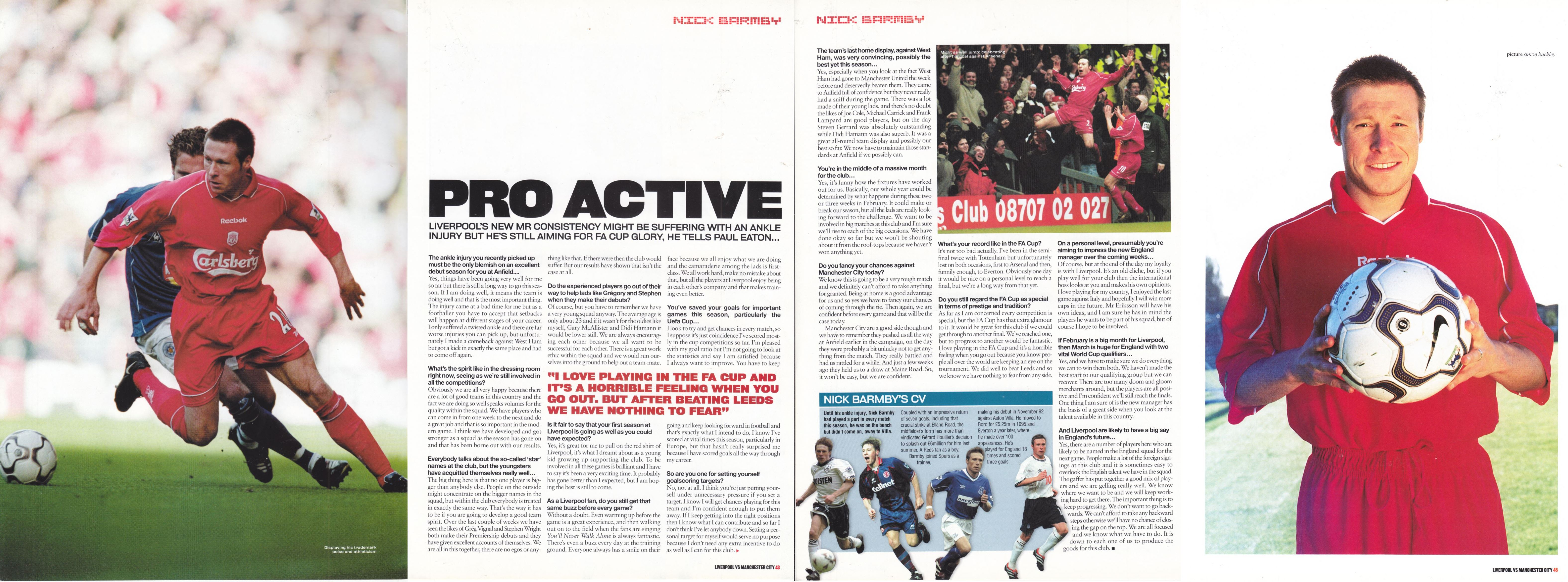 LFC Official Matchday Magazine interview February 2001