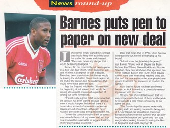 Barnes signs new two-year deal - LFC Matchday Magazine 1995/96