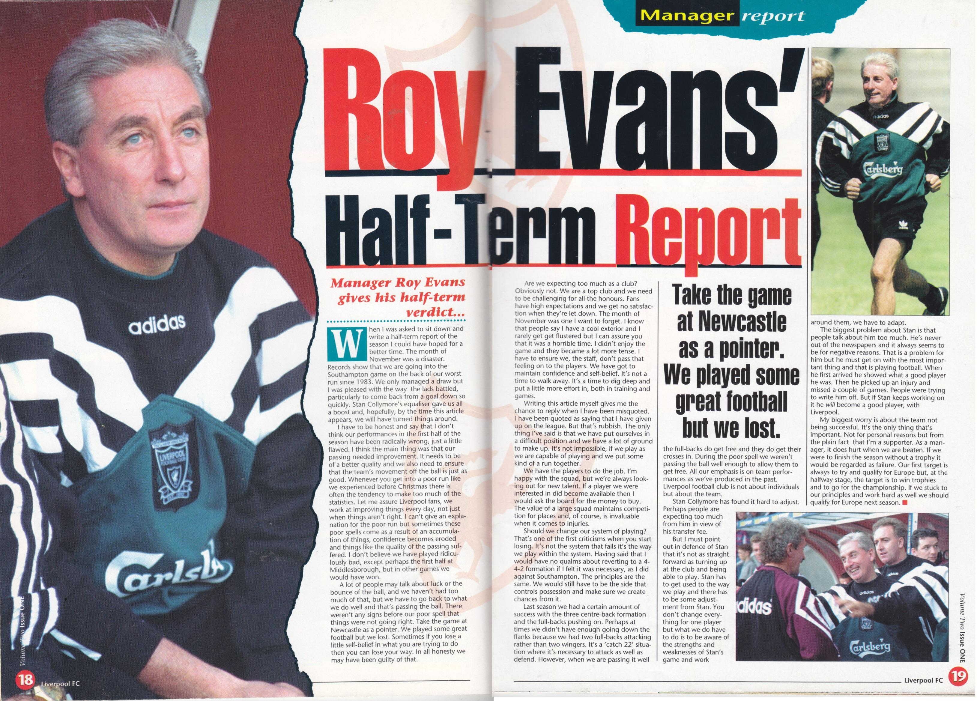Roy Evans' half-term report 1995/96