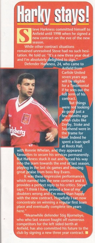 Harkness signs three-year deal - LFC Matchday Magazine 1995/96