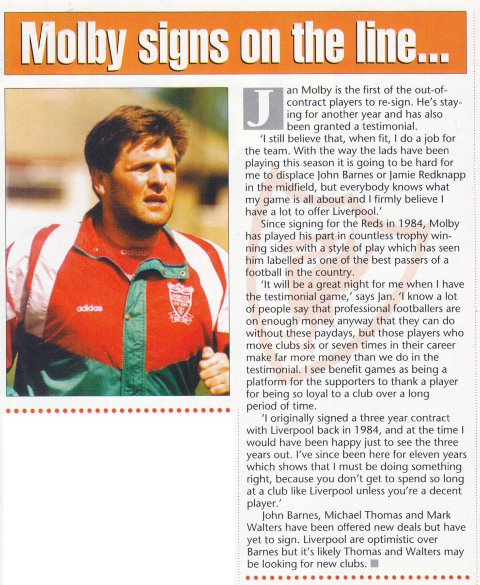 Mølby signs on for one more year -  The Official Liverpool Magazine May 1995