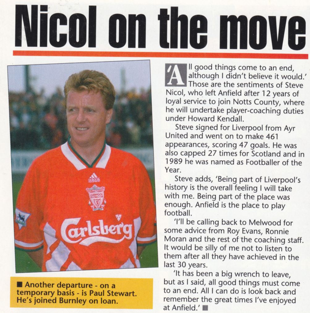 Nicol on the move - The Official Liverpool Magazine January 1995