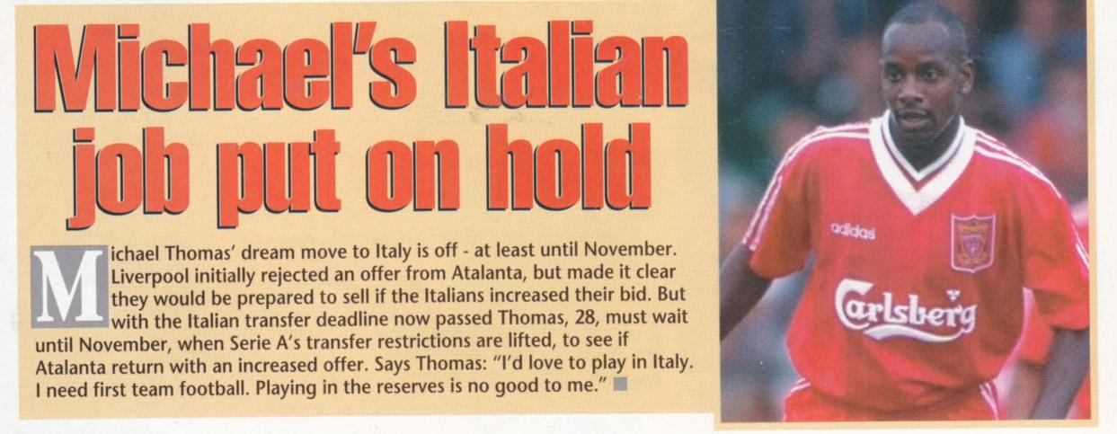 Thomas wants to leave - from LFC matchday magazine 1995/96