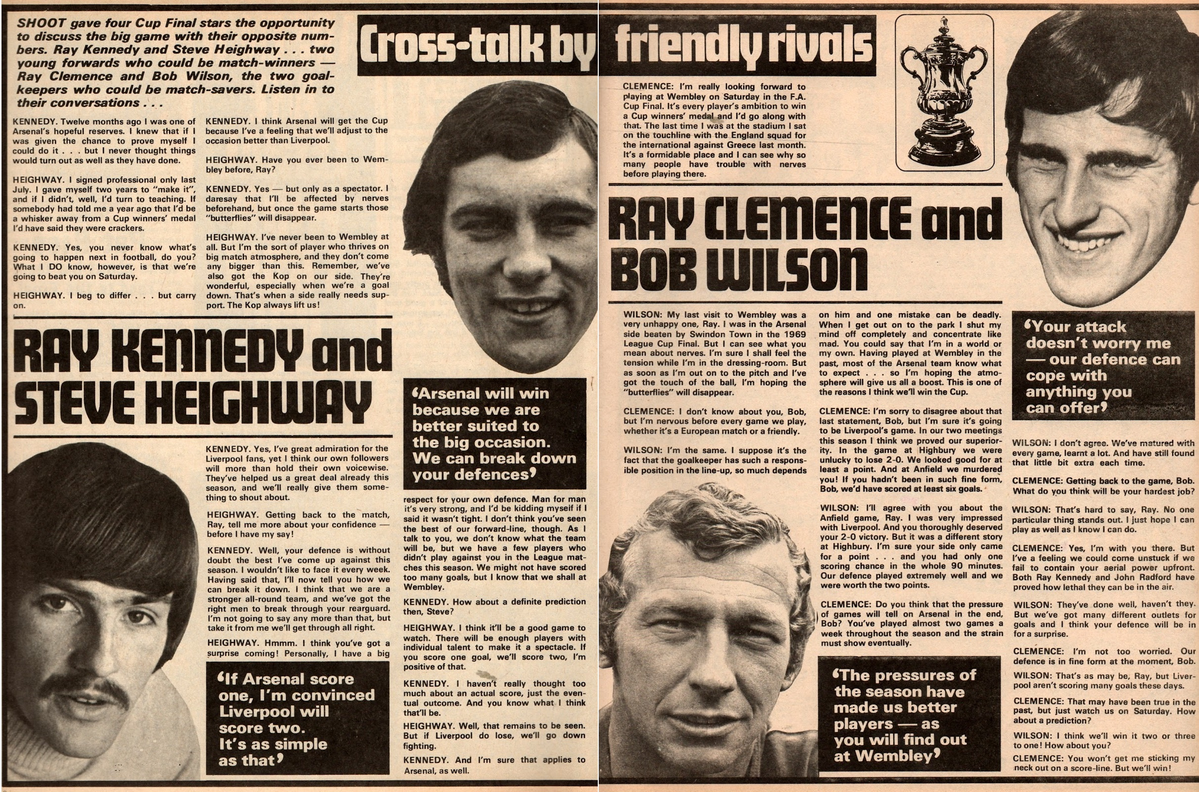 Cross-talk by friendly rivals - prior to the 1971 final