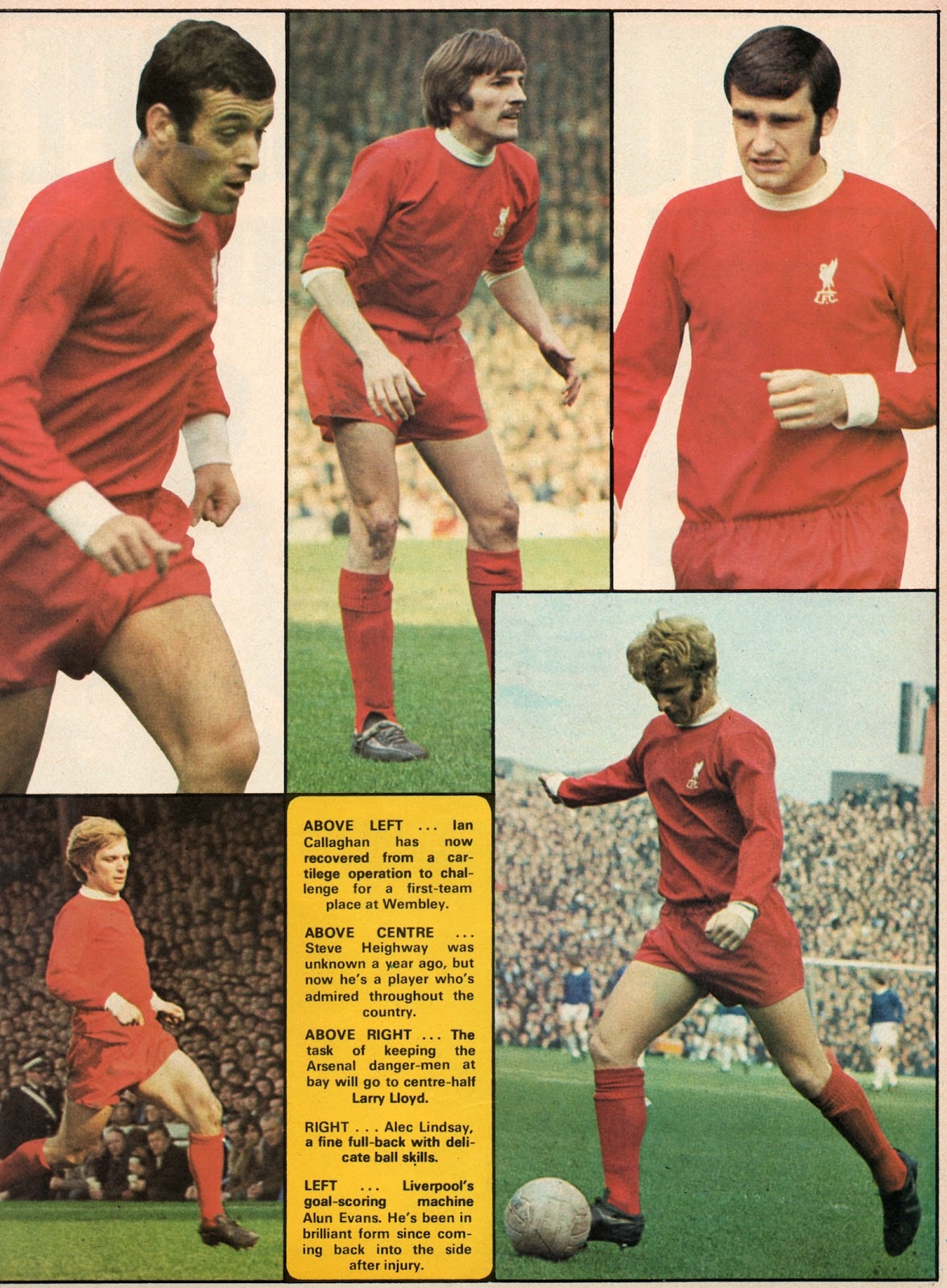 Color images of Liverpool's key men in the 1971 FA Cup final