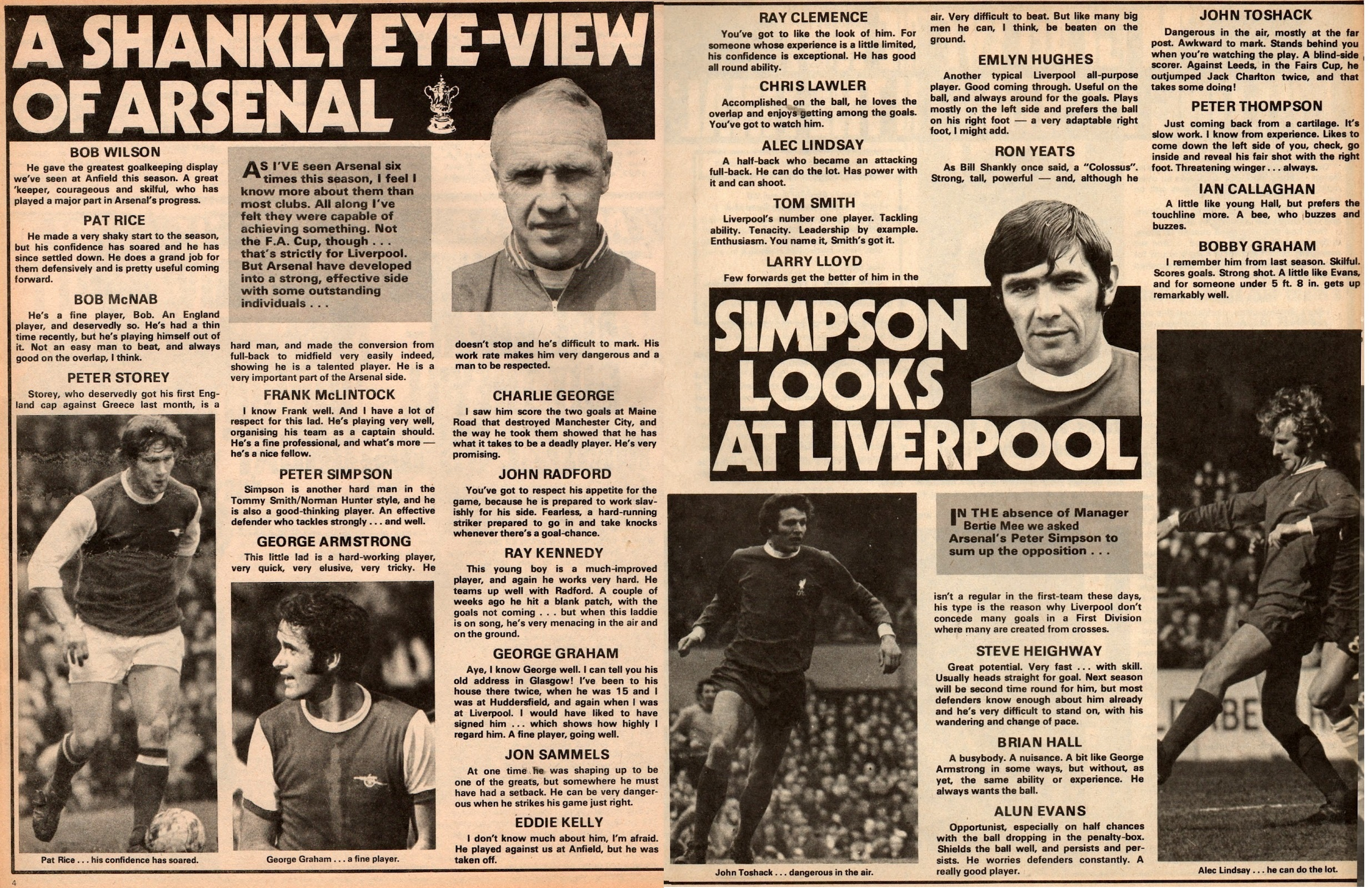 Shankly's view of Arsenal's 1971 final team