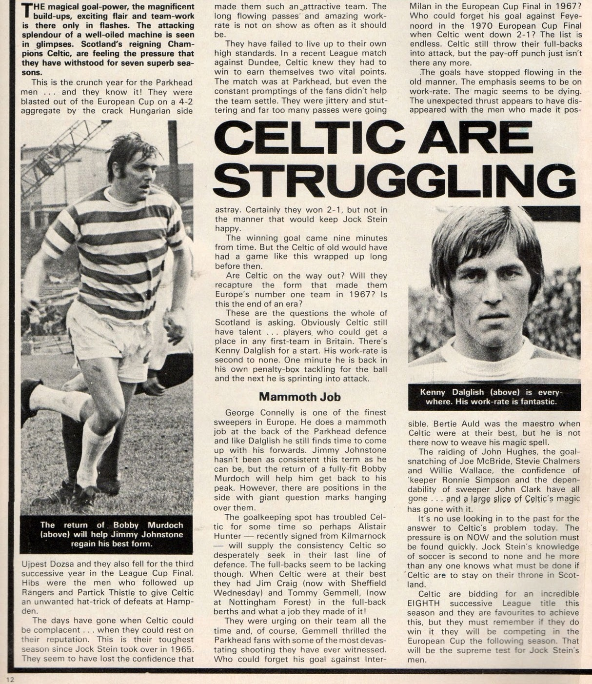 Celtic are struggling - from 15 September 1974