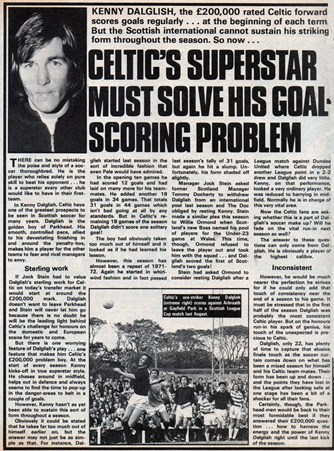 Celtic's superstar must solve his goalscoring problem - 5 May 1973