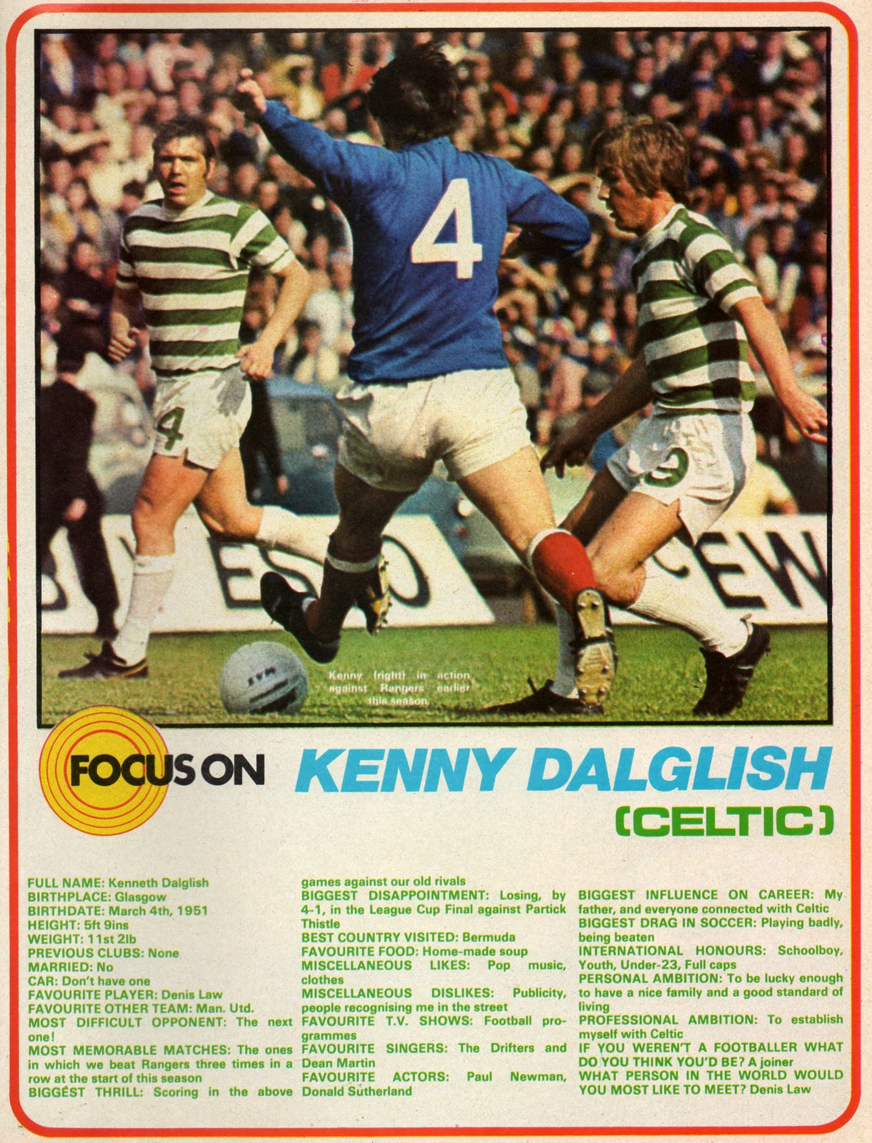 Focus on Celtic's star Kenny Dalglish