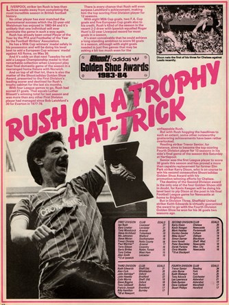 Rush on a trophy hat-trick - From Shoot! on 1 May 1985