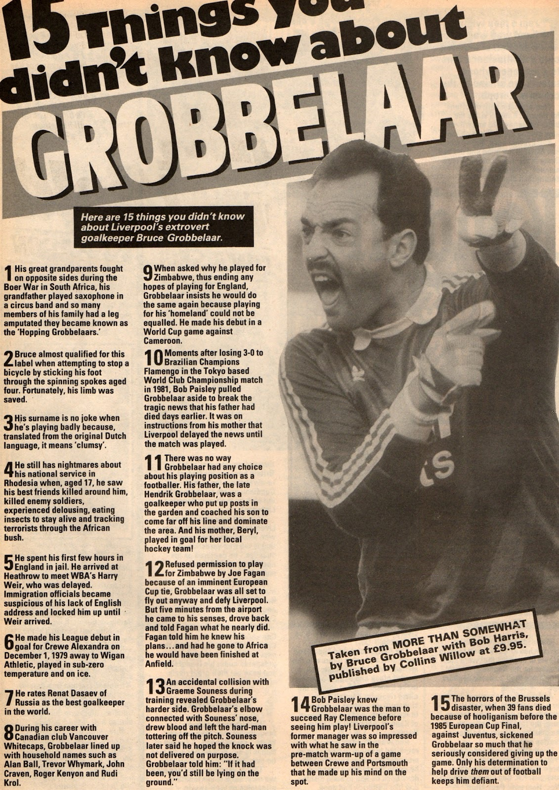 15 things you didn't know about Bruce Grobbelaar