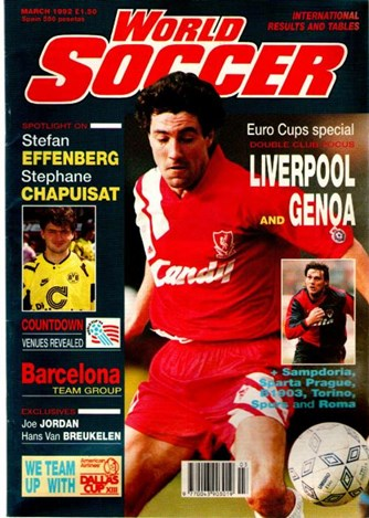 Dean Saunders on the cover of World Soccer March 1992