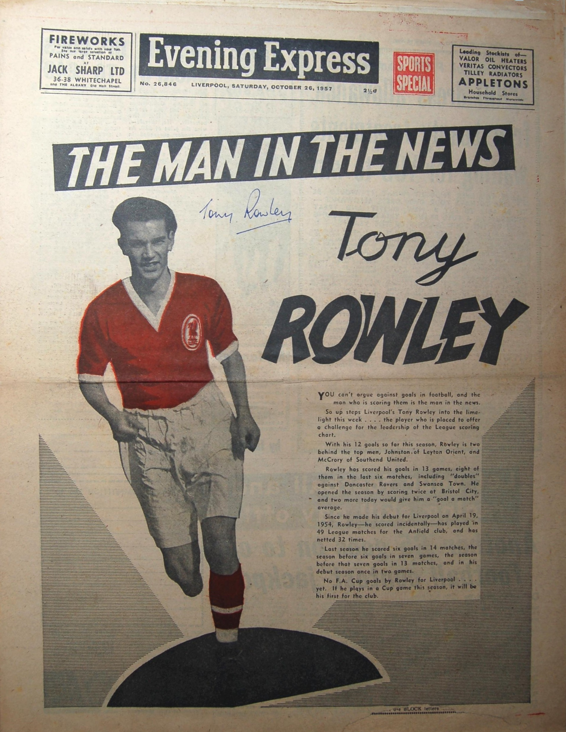 Rowley on the cover of the Evening Express on 26 October 1957
