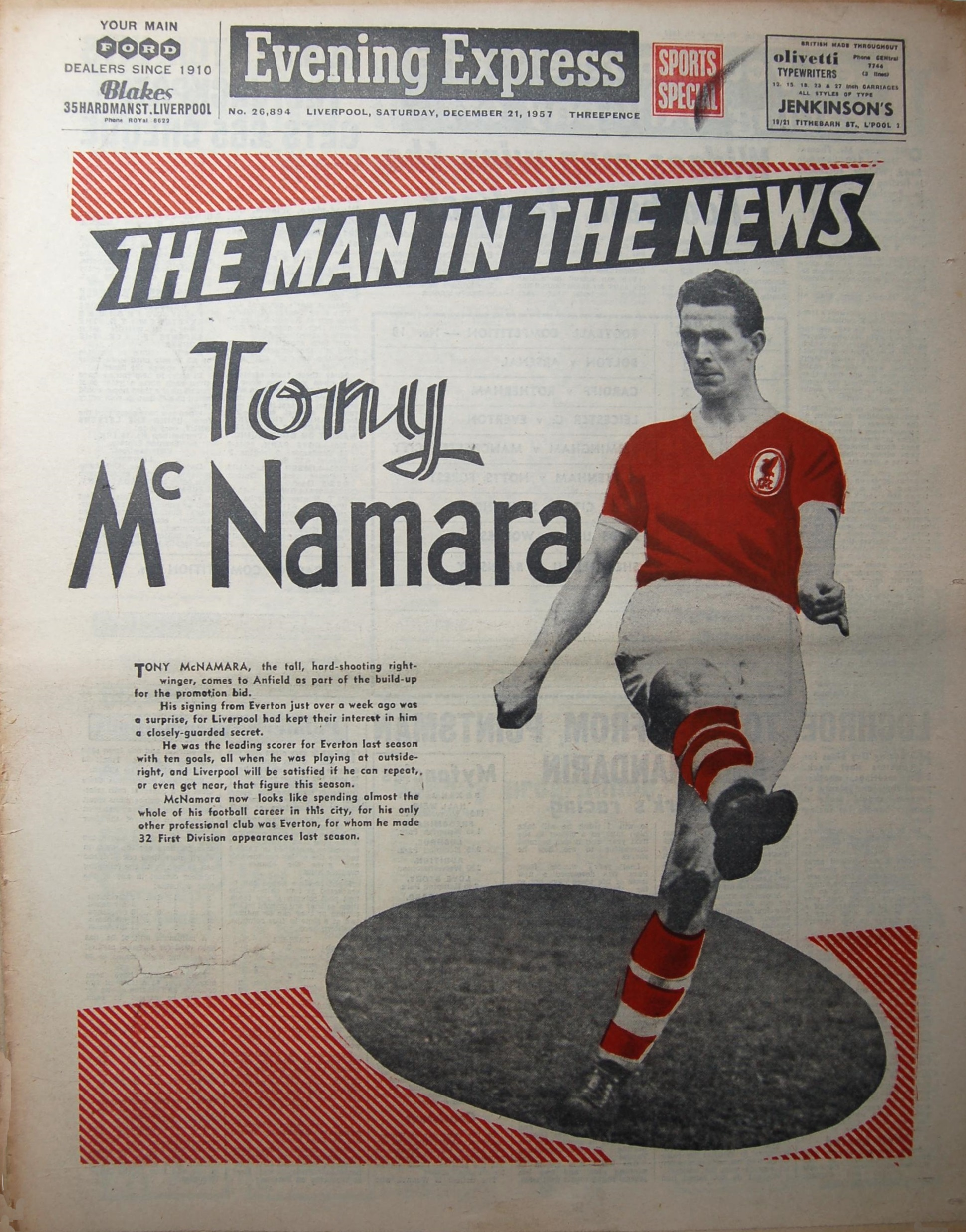 McNamara on the cover of the Evening Express on 21 December 1957