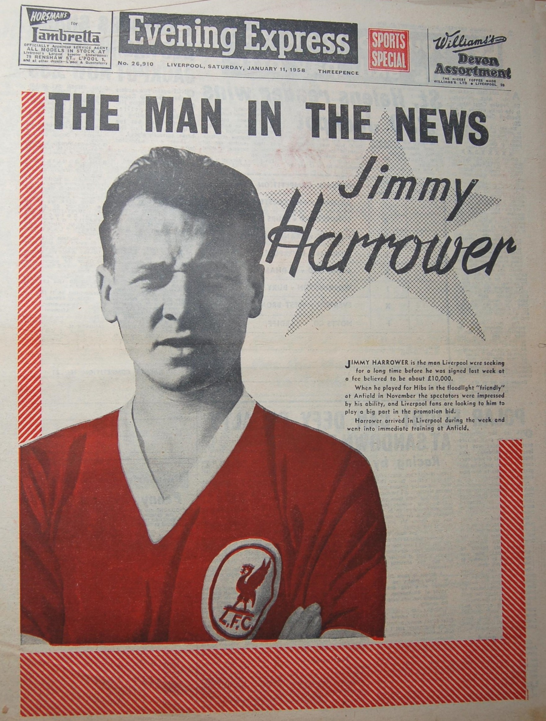 Harrower on the cover of the Evening Express on 11 January 1958