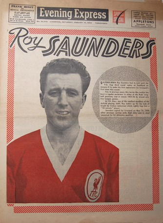 Saunders on the cover of the Evening Express on 18 January 1958