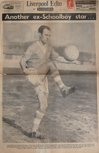 Profile of Jimmy Melia on the cover of the Liverpool Echo on 21 February 1959