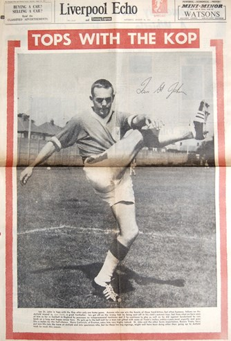 St John on the cover of the Liverpool Echo on 26 August 1961