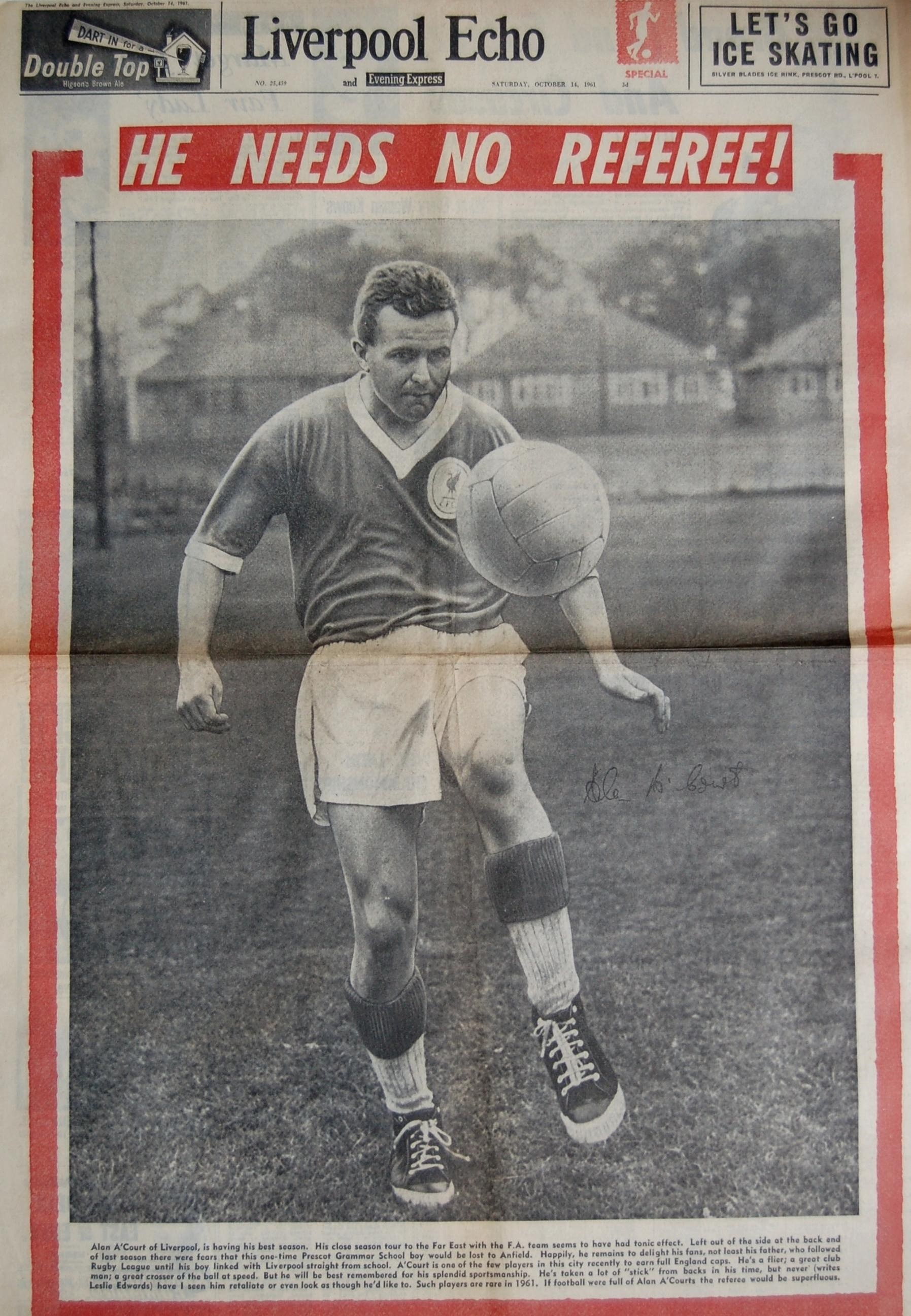 A'Court on the cover of the Liverpool Echo on 14 October 1961